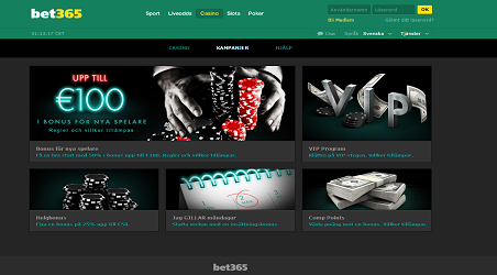 Översikt Bet365 Casino (Screenshot)