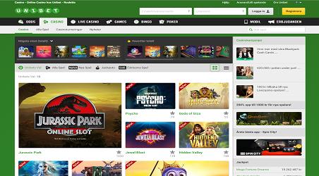 Översikt och screenshot Unibet Casino