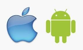 Bild på iOS och Androids loggor