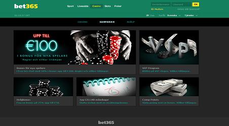 Översikt Bet365 Casino (Screenshot)
