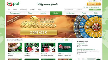 Screenshot på Pafs casino