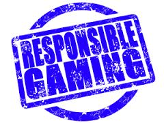 """Spelansvar knapp engelska """"responsilble gaming"""", färg blå"""