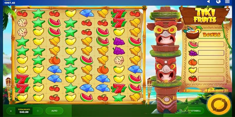 Tiki fruits spelplan med totempålarna