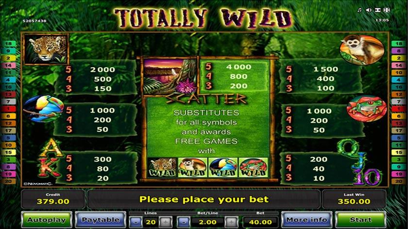 en vild utbetalningstabell i Totally Wild