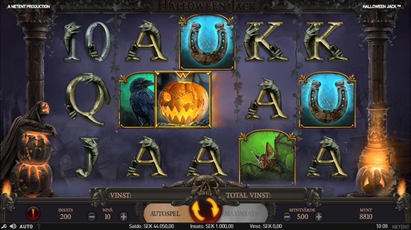 Ett mer skrämmande spelupplägg hittar du hos Halloween Jack